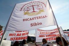 Sekretarz sądu pracy zjednoczenia protesta wiec - Bucharest, Rumunia obrazy stock