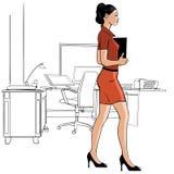 Sekreterare som går i ett kontor - illustration Royaltyfri Fotografi