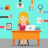 sekreterare Upptagen kvinna för kontorsarbete royaltyfri illustrationer