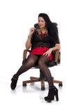 Sekreterareflicka i stolen Arkivfoton