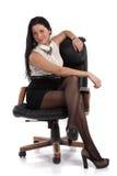 Sekreterareflicka i stolen Royaltyfri Foto