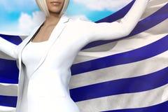 Seksowna biznesowa dama trzyma Grecja flagę w rękach za ona z powrotem na niebieskiego nieba tle - chorągwiana pojęcia 3d ilustra ilustracja wektor