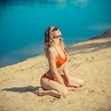Seksowna blondynka bikini dziewczyna Fotografia Stock