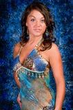 Seksowna brunetki dziewczyna w błękicie Obraz Royalty Free