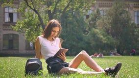 Seksowna dama siedzi na trawie w parku w dniu, ogląda pastylkę, relaksuje pojęcie, komunikacyjny pojęcie zbiory