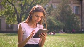 Seksowna dama siedzi na trawie w parku w dniu, stuka na pastylce, relaksuje pojęcie, komunikacyjny pojęcie zdjęcie wideo