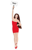 Seksowna damy ręka w górę czerwieni sukni ilustracja wektor