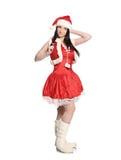Seksowna dziewczyna jest ubranym Santa Claus odziewa, boże narodzenia Fotografia Stock