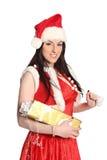 Seksowna dziewczyna jest ubranym Santa Claus odziewa, boże narodzenia Obrazy Royalty Free