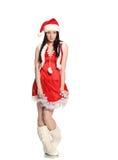 Seksowna dziewczyna jest ubranym Santa Claus odziewa, boże narodzenia Fotografia Royalty Free