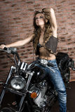 Seksowna dziewczyna na motocyklu Obraz Royalty Free