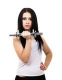 Seksowna dziewczyna trzyma dumbbell Obraz Royalty Free