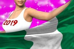 Seksowna dziewczyna trzyma Nigeria flagę w przodzie na różowych kolorowych chmurach - bożych narodzeń i 2019 3d nowego roku pojęc royalty ilustracja