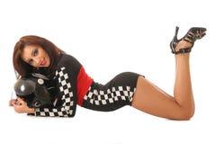 Seksowna dziewczyna w bieżnym kostiumu obraz royalty free