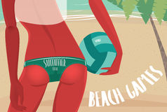 Seksowna dziewczyna w bikini z siatkówki piłką royalty ilustracja