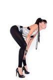 Seksowna dziewczyna w czarnych leggings Zdjęcie Stock
