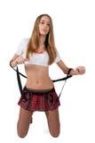 Seksowna dziewczyna w krótkim wierzchołku i spódnicie Zdjęcia Stock