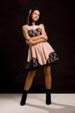 Seksowna dziewczyna w różowej wieczór sukni Obrazy Royalty Free