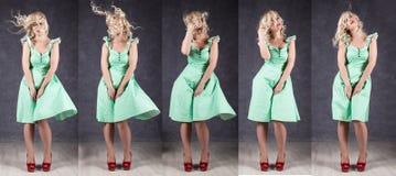 seksowna dziewczyna z latającym włosy pozuje w zieleni czerwieni i sukni butach różna emocja w jeden strzale Obraz Stock
