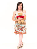 Seksowna dziewczyna z zabawka niedźwiedziem w studiu Obrazy Royalty Free