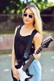 seksowna dziewczyny elektryczna gitara Zdjęcia Royalty Free