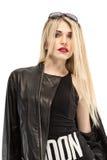 Seksowna elegancka kobieta ubierał w koszula z tekstem Londyn Obraz Stock