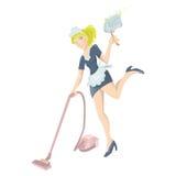 Seksowna gosposia z próżniowego cleaner i pyłu wiper Obraz Stock