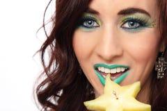Seksowna kobieta Je Gwiazdową owoc Obrazy Royalty Free