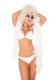 Seksowna kobieta jest ubranym białego bikini Zdjęcie Royalty Free
