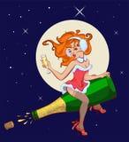 Seksowna kobieta lata na butelce szampan Obrazy Stock