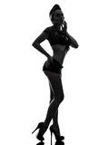 Seksowna kobieta w wojsko munduru sylwetce Fotografia Royalty Free