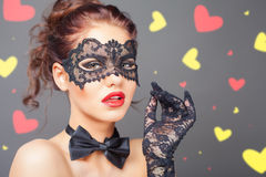 Seksowna kobieta z karnawał maską zdjęcia stock