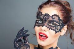 Seksowna kobieta z karnawał maską obrazy royalty free
