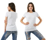 Seksowna kobieta z pustą białą koszula i cajgami Obrazy Stock