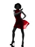 Seksowna kobiety mienia pistoletu sylwetka Obraz Stock