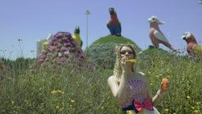 Seksowna młoda blondynki kobieta dmucha mydlanych bąble w kwiatu ogródzie Dosyć marzący ślicznej dziewczyny w śmiesznej koronki s zbiory