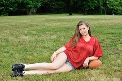 Seksowna młoda kobieta - futbol amerykański Zdjęcie Stock