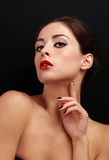 Seksowna makeup kobieta z czerwony pomadki patrzeć Obrazy Royalty Free