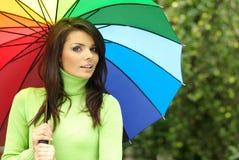 seksowna parasolowa kolorowa kobieta Obraz Royalty Free