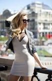 Seksowna piękna blondynki kobieta, outdoors Obrazy Royalty Free