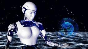 Seksowna robota androidu kobieta trzyma cyfrową planety ziemię Cyborg przyszłościowa technologia, sztuczna inteligencja, komputer ilustracji