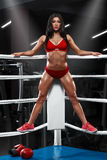 Seksowna sprawności fizycznej dziewczyna pokazuje mięśniowego sportowego ciało, abs Mięśniowa kobieta w bokserskim pierścionku Zdjęcia Stock