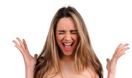 Seksowna wrzask dziewczyna z białymi zębami Zdjęcia Stock