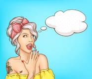 Seksowna zdziwiona kobiety no! no! wystrza?u sztuki retro komiczna twarz ilustracji