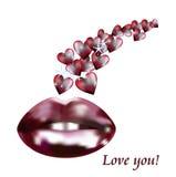 Seksowne czerwone wargi i miłość życzenia Fotografia Stock