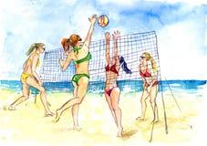 Seksowne dziewczyny w bikini bawić się plażowej siatkówki, morza i piaska tło, ilustracji