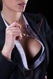 Seksownego popiersia zmysłowy bizneswoman Obrazy Stock