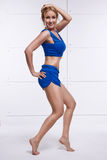 Seksownej blondynki postaci joga perfect sportowi szczupli fitnes lub ćwiczenie Obrazy Stock