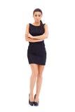 Seksownej brunetki wzorcowy pozować na bielu Zdjęcie Royalty Free