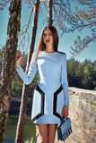 Seksownej pięknej kobiety ciemnej brunetki odzieży mody włosiany styl Obraz Royalty Free